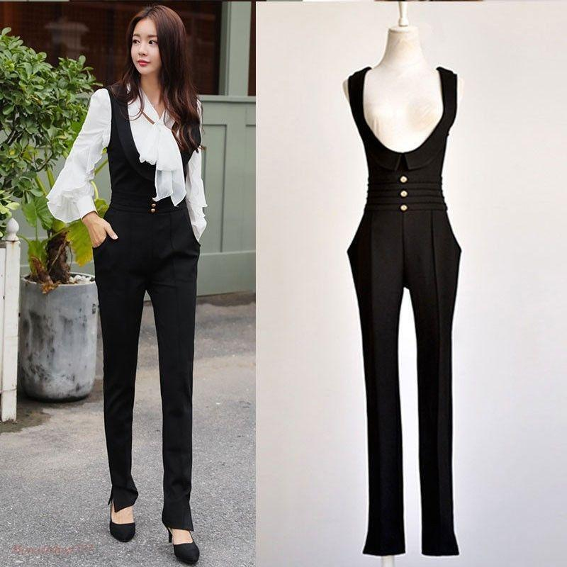 Women's Casual Suspender Pants Casual High Waist Jumpsuits Skinny Long Trousers