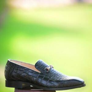 Handmade-Loafer-Horse-Bit-Crocodile-Print-Calf-leather-Casual-Party-Formal-Shoes