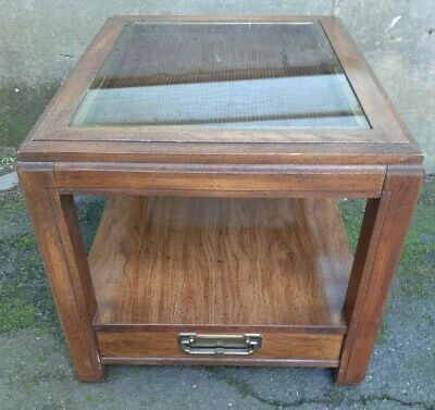 Tier 1 Drawer Glass Top Weave End Table, Wood End Tables With Glass Top