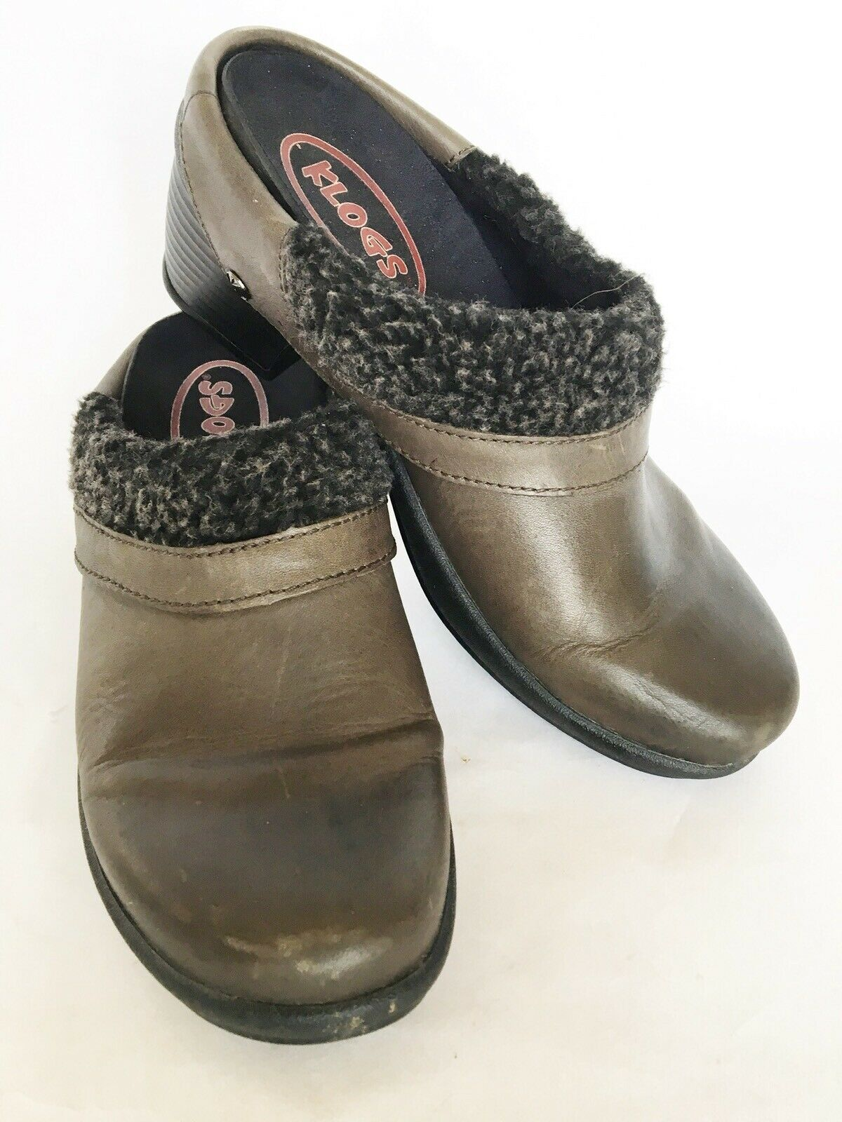 Klogs Brown Size 9 Comfort Open Back Clogs Women's Shoe Faux Fur Fabric Lined