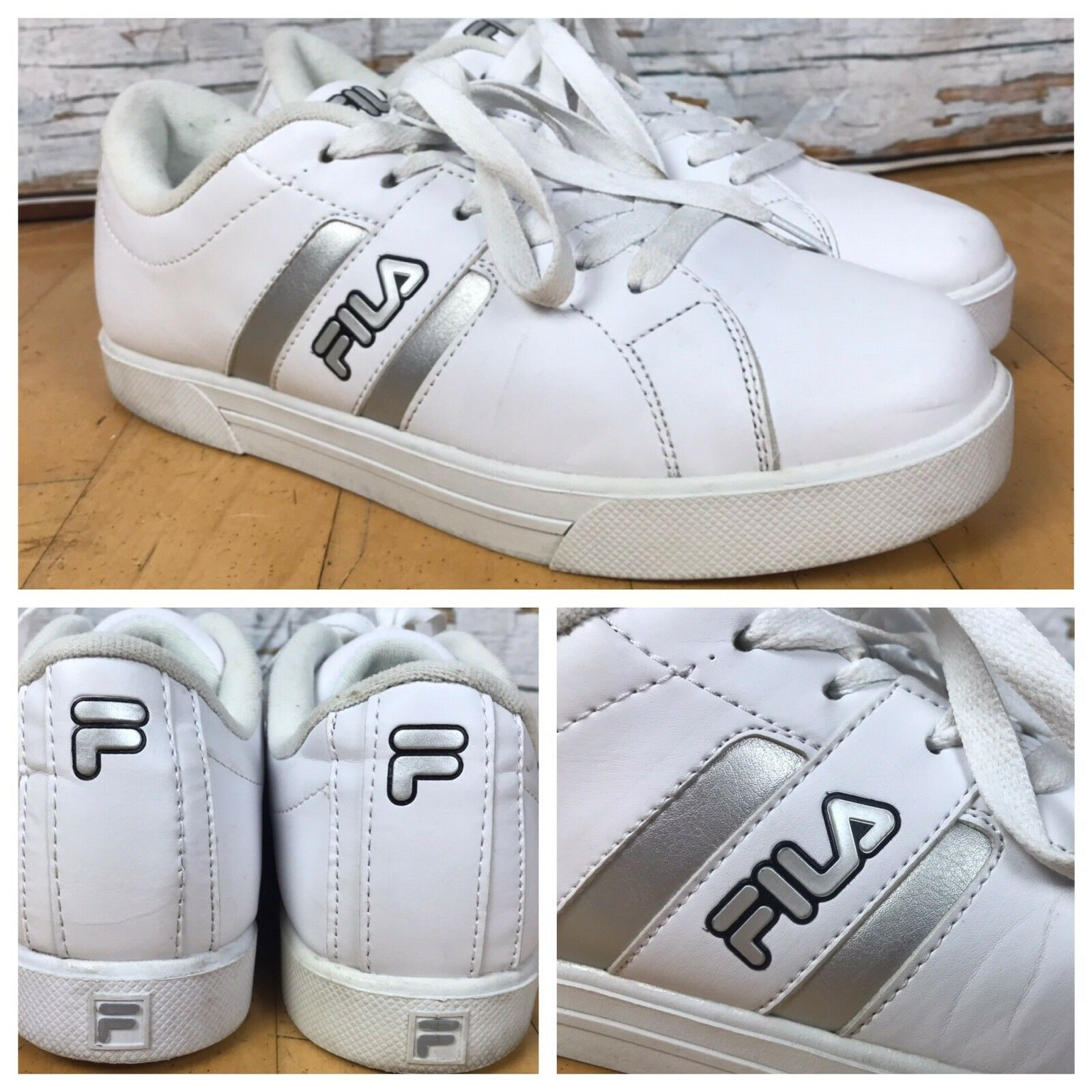 FILA White Silver 1SC50113-101 Trim 1SC50113-101 Silver Leather Shoes Tennis Sneaker Mens Size 9.5 ca81cb