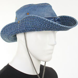 Details about Cotton Denim Safari Cowboy SK Wide Brim Cap Sun Visor Fishing  Jungle Hunting Hat aa920618434