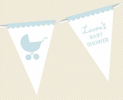 PERSONALISED BABY SHOWER PRAM BUNTING - BANNER PARTY DECORATION MIXED BOY & GIRL