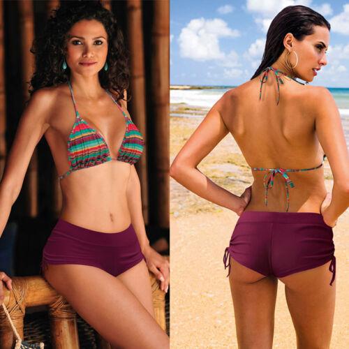 Damen Shorts einfarbig Bikini Schwimmen Hose Bademode Style Unterhose Böden