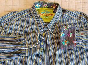 Robert-Graham-Flip-Cuff-Mens-Shirt-Size-XL-EUC-Stripes-RG-Floral-Button-Up