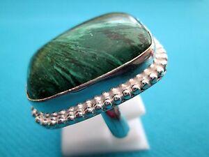 925-Silver-Natural-Green-Malachite-Unisex-Ring-Size-Q-1-2-US-8-25-rg1412
