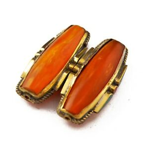 Resin-Turquoise-Coral-Brass-2-Beads-Tibetan-Nepalese-Ethnic-Handmade-UB2651