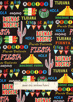 Mexico Tijuana Cactus Fiesta Cotton Fabric Yard Benartex K Studio Cinco De Mayo