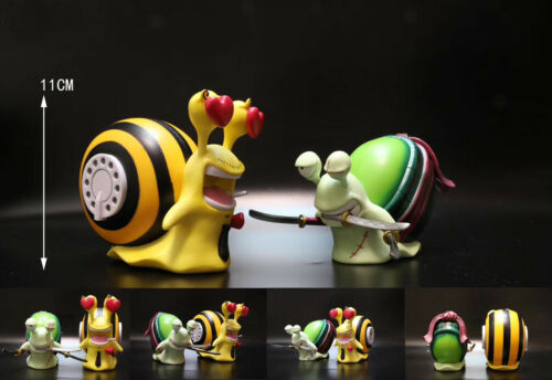 2 Style One Piece Snail Phone Law /& Donquixote Den Den Mushi PVC Figure Toy Gift