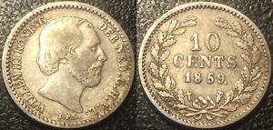 Pays-Bas-Wilhelm-III-10-cents-1859-argent-Utrecht-KM-80