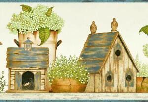 Wallpaper-Border-Cottage-Birdhouses-Wallpaper-Border-Blue-Trim