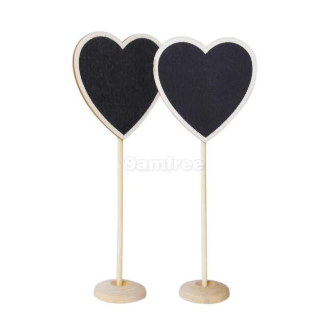10pcs HEART BLACKBOARD STANDS Chalkboard Wedding Table Number Party Lolly Buffet