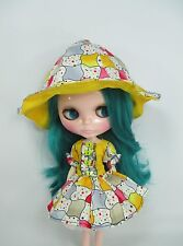 Blythe Outfit Handmade clothing fashion Basaak set dress and hat # 900