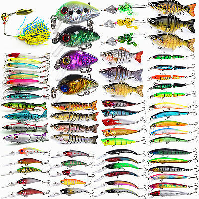 Pack of 3 Kinds of Fishing Lures Crankbaits Hooks Minnow Shrimp Baits Tackle