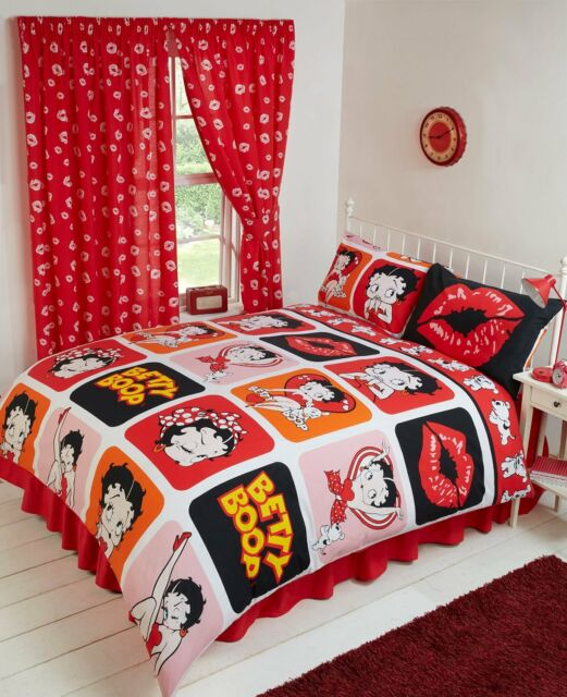 . Double Bed Duvet Cover Set Betty Boop Lips Picture Orange Pink Girls