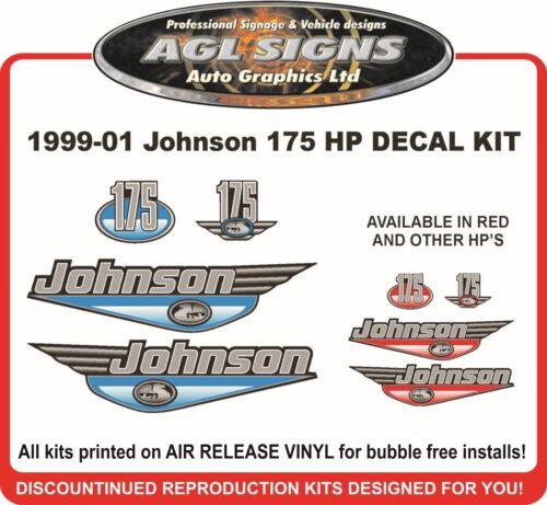 1999 2000 2001 JOHNSON 175 HP DECAL KIT  SEA PRO reproduction 120 130 140 150