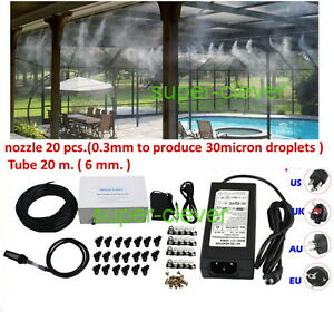 Low-Pressure-20-nozzle-Fog-Misting-Cooling-DIY-20m-Tubing-Humidification-0-3mm