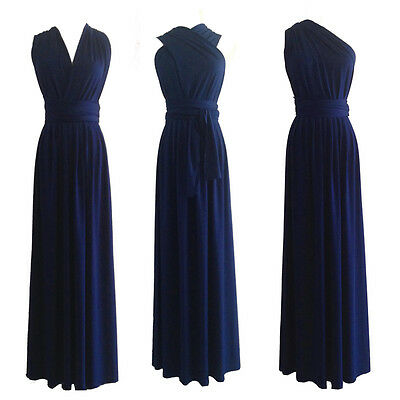 Navy Flirty Multi Way Wrap Convertible Infinity Bridesmaid Dress XS-3XL