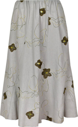 Elasticated Waist 27 Ladies//Womens Floral Embroidery Skirt