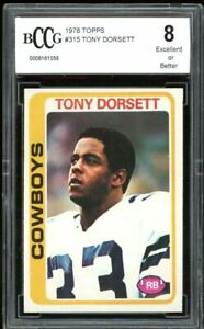 1978 Topps #315 Tony Dorsett Rookie Card BGS BCCG 8 Excellent+