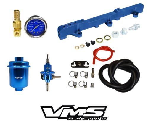 VMS RACING FUEL GAUGE RAIL REGULATOR FILTER FOR 96-00 HONDA CIVIC D16 BLUE