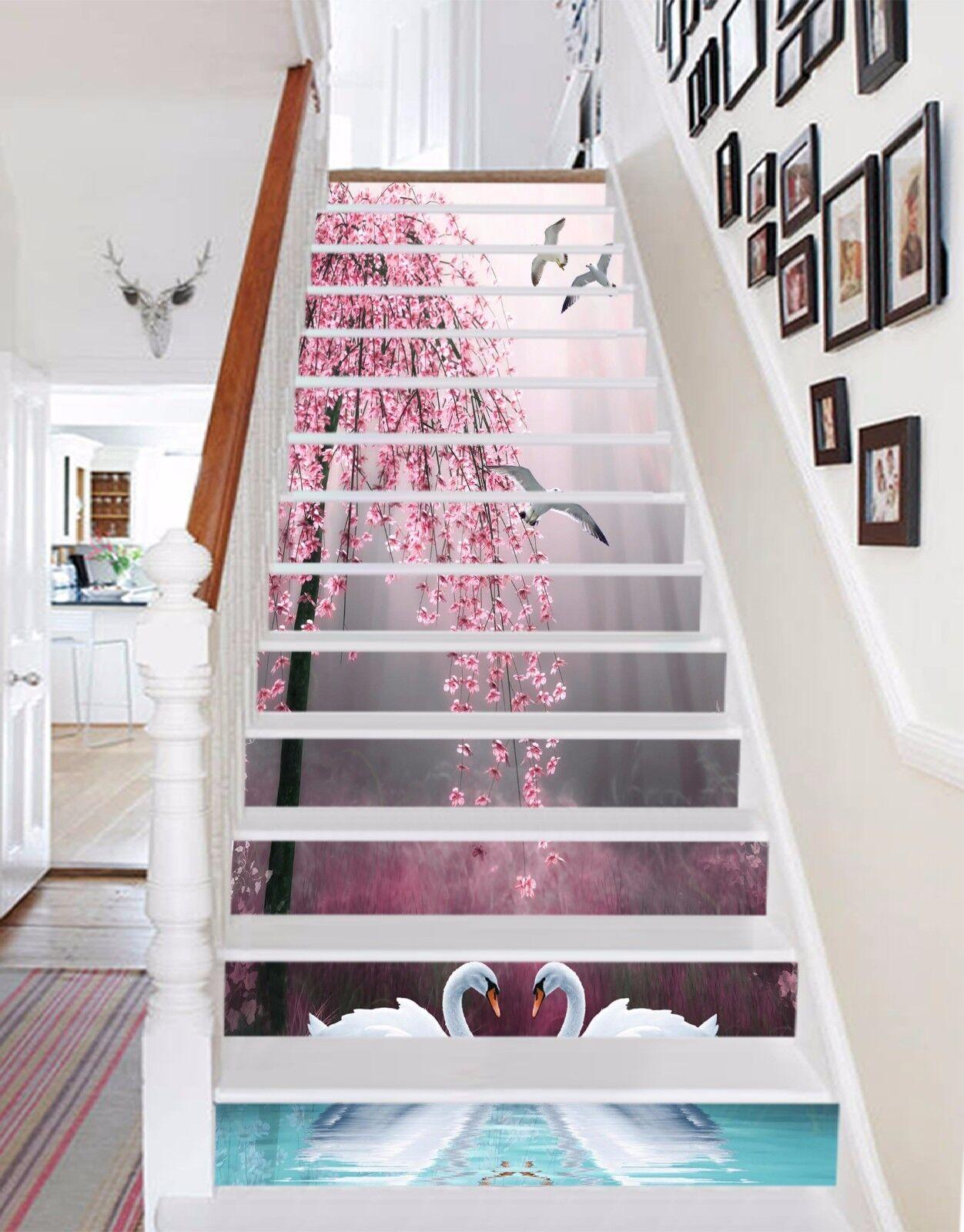 3D Schwan Blaume 707 Stair Risers Dekoration Fototapete Vinyl Aufkleber Tapete DE
