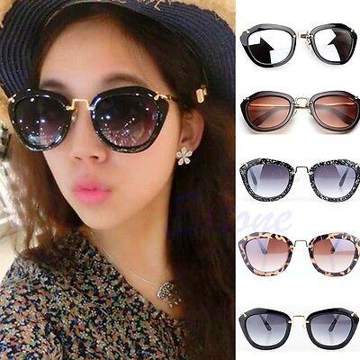 Fashion Women's Classic Cat Eye Designer Shades Leopard Frame Sunglasses Black