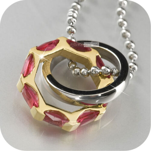 gold silver ring round steel pendant ball chain necklace red CZ Cubic Zirconia