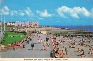 Lovely Vintage Postcard - Promenade & Beach, Salthill, Galway - Ireland (1970).