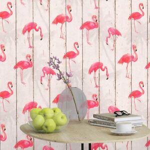 Rasch-Barbara-Becker-Flamant-Rose-Papier-Peint-Blanc-479720-Bois-Panneau-Neuf