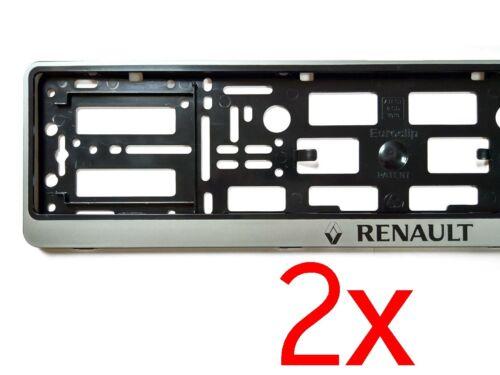2x SILVER RENAULT European Euro License Number Plate Holder Frame German Car Tag