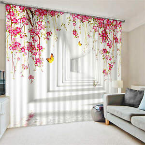 Deep-Hallway-Flowers-Butterfly-3D-Blockout-Photo-Printing-Curtains-Draps-Fabric