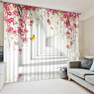 Deep Hallway Flowers Butterfly 3D Blockout Photo Printing Curtains Draps Fabric