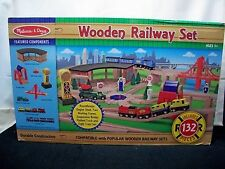 Melissa & Doug Deluxe 132 piece Wooden Railway train Set
