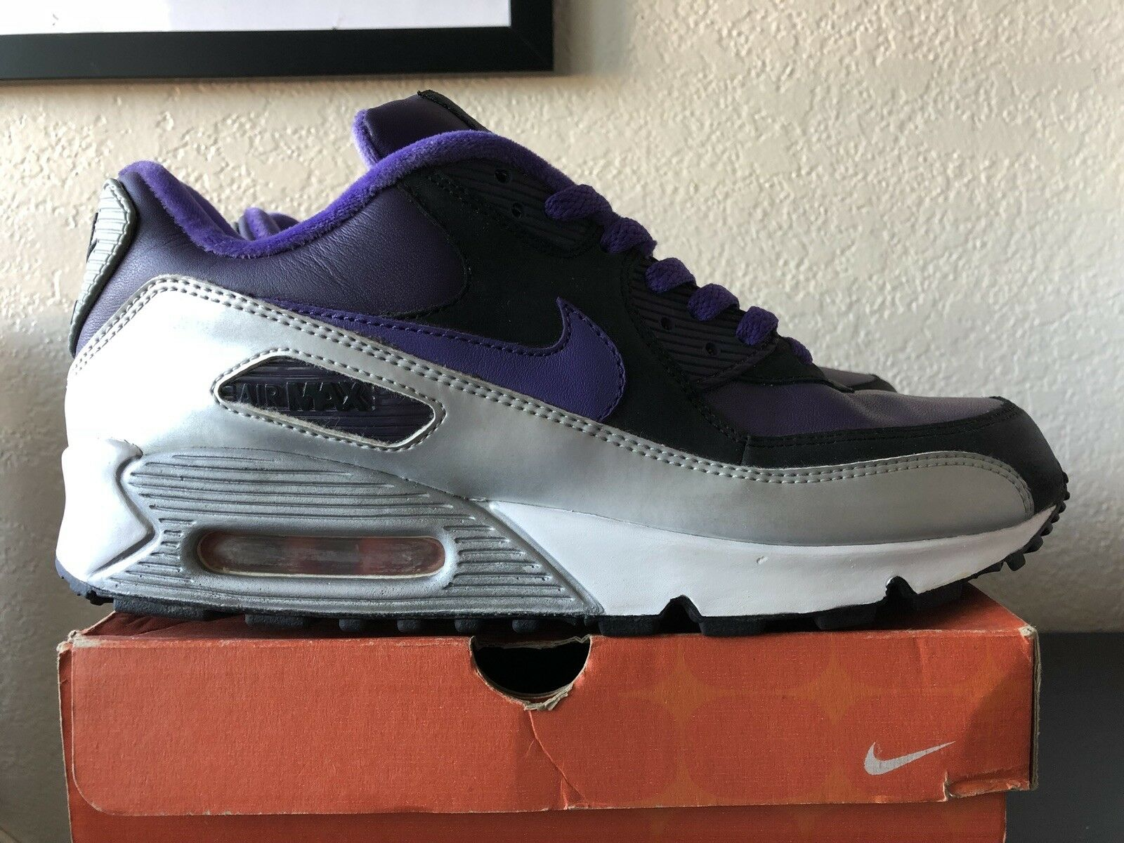 Nike Air Max 90 2006 Purple silver black SAMPLE Size 9 Stars