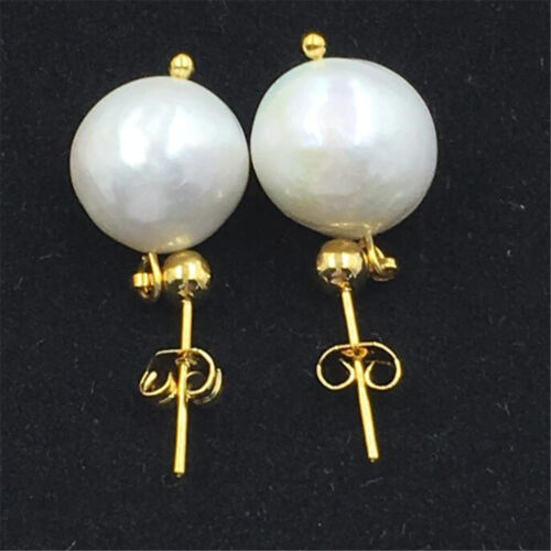 Baroque pearl earrings 13-14MM natural 18K GOLD south classic made HUGE Hand sea