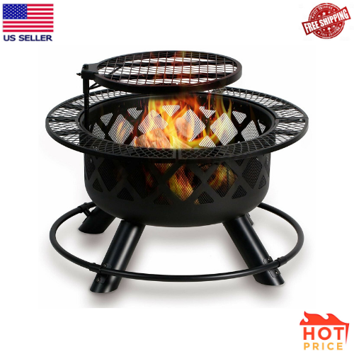 Bali Outdoors Wood Burning Fire Pit Backyard With Cooking Grill 32in Black For Sale Online Ebay