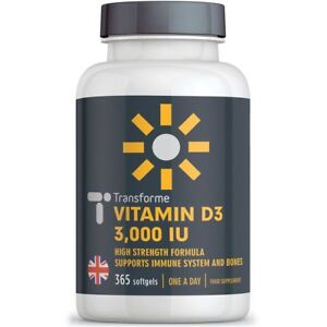e251a16a72a Image is loading Vitamin-D3-3000IU-365-Capsules-High-Strength-in-