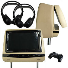 Universal Beige Leather DVD/USB/SD Headrests Screens/Games Audi/BMW/Lexus/Ford