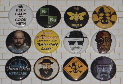 "BREAKING BAD 12 Button Set 1 /"" Inch Pins Walter White Heisenberg Saul Goodman"