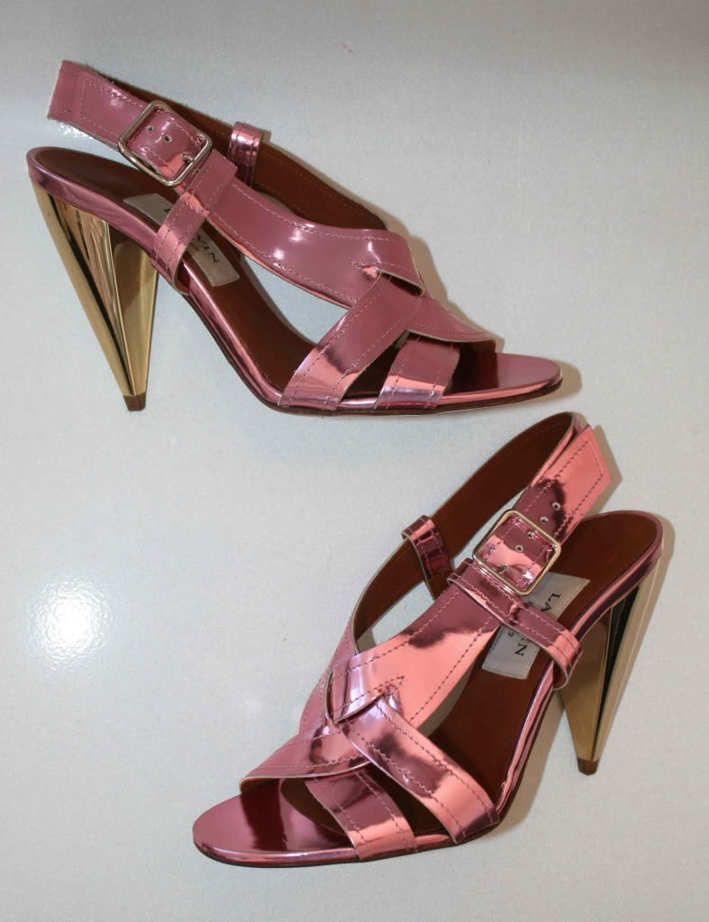 Lanvin pink gold patent leather heels NEW Sandals 40 10