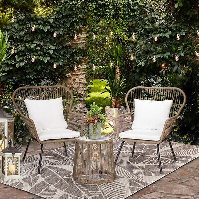 Modern Patio Table And 2 Chairs Cushion