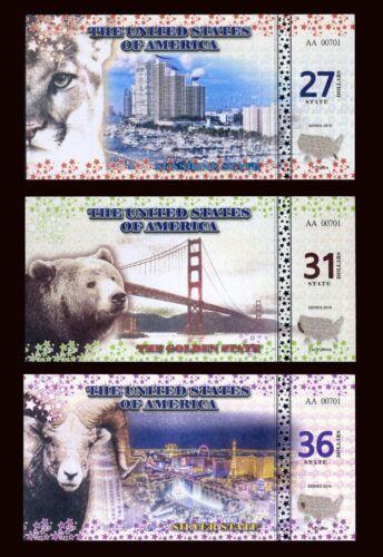 SET 27;31;36 State Dollars 2016-3 Note Set California Florida Nevada