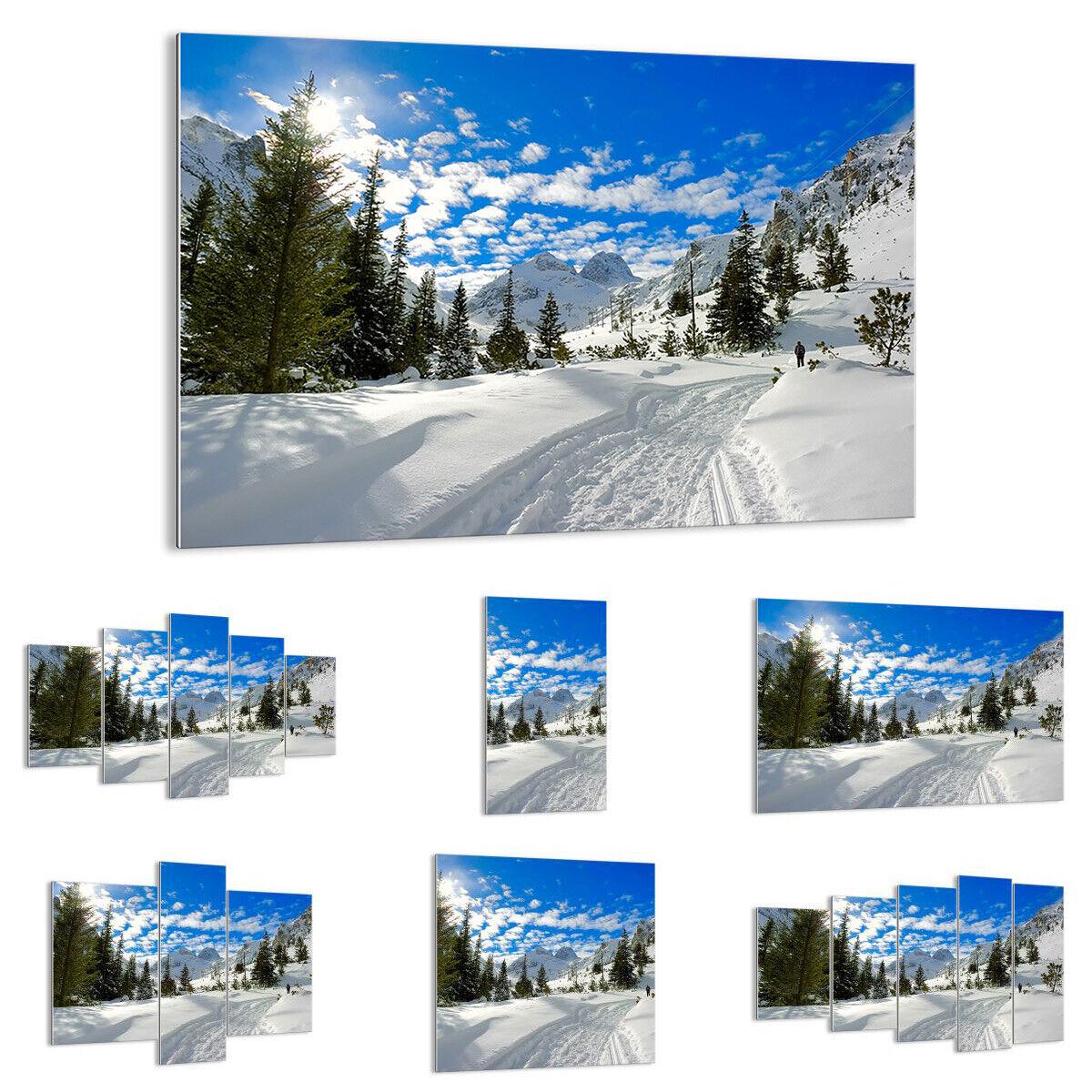 GLASBILD Wandbild Deko Tal Wolken Lawine Sport 1436 DE