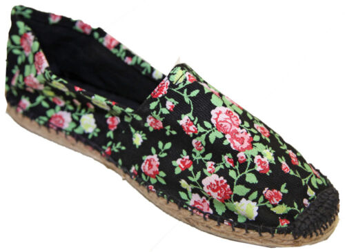 Espadrilles Woman Flower Floral Canvas Sewn Hand Sole rubber cord// rope braided