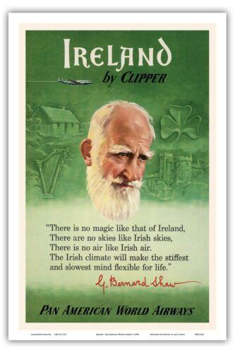 Ireland George Bernard Shaw Vintage Airline Travel Art Poster Print