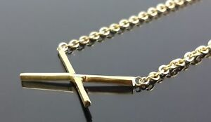 14k-Yellow-Gold-Necklace-Plated-Solid-925-Sterling-Silver-Cross-Jewelry