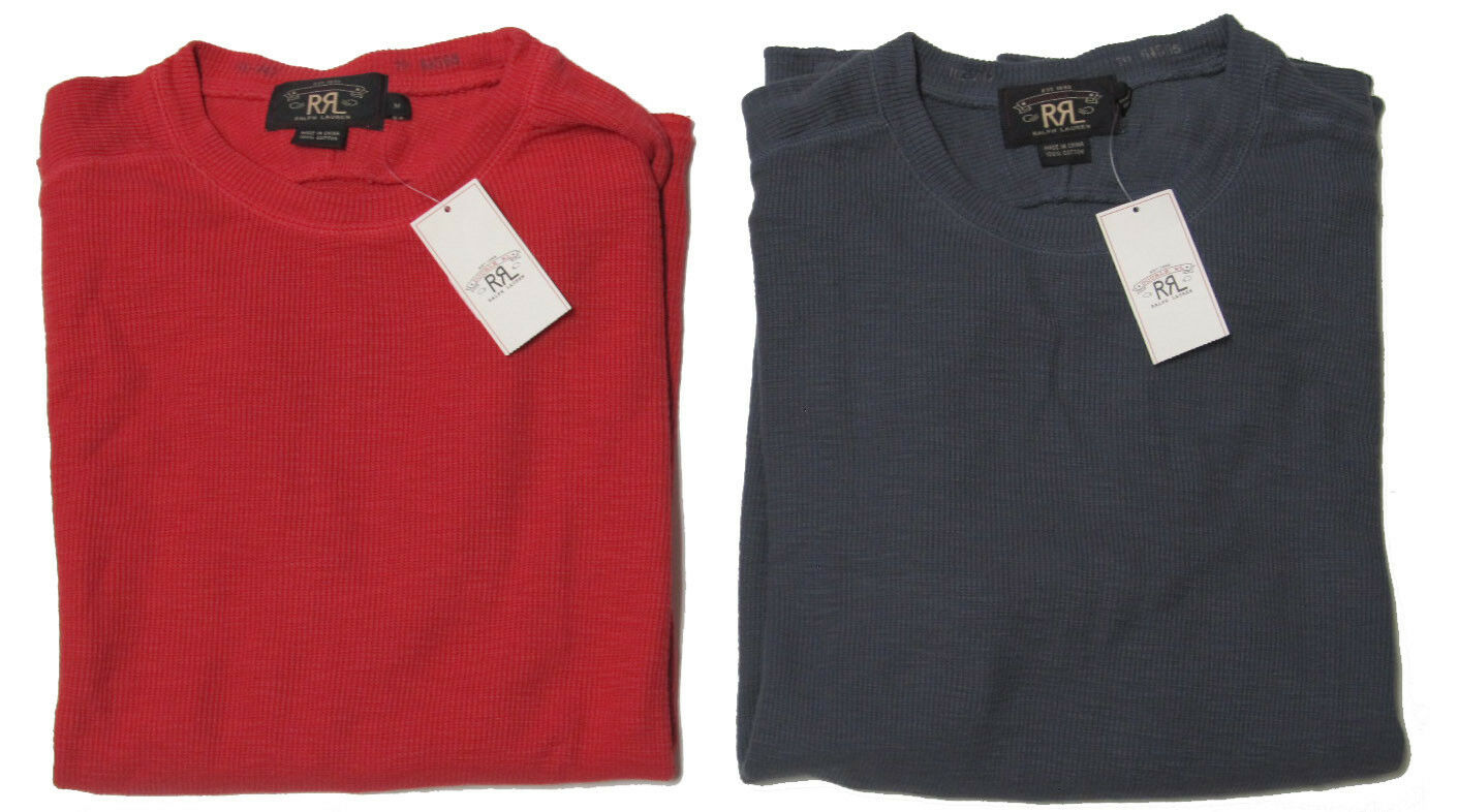 Double Ralph Lauren RRL  Herren ROT Blau Slim Fit Long Sleeve Thermal Shirt Sweater