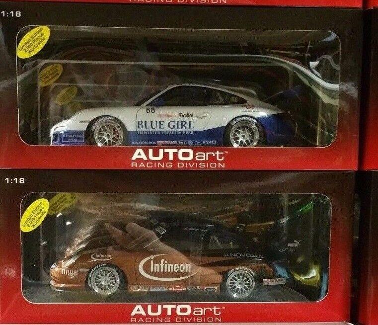 LOT OF 2 PORSCHE 911 GT3 RSR CARRERA CUP RACECARS by AUTOart 1:18 80684 & 80487