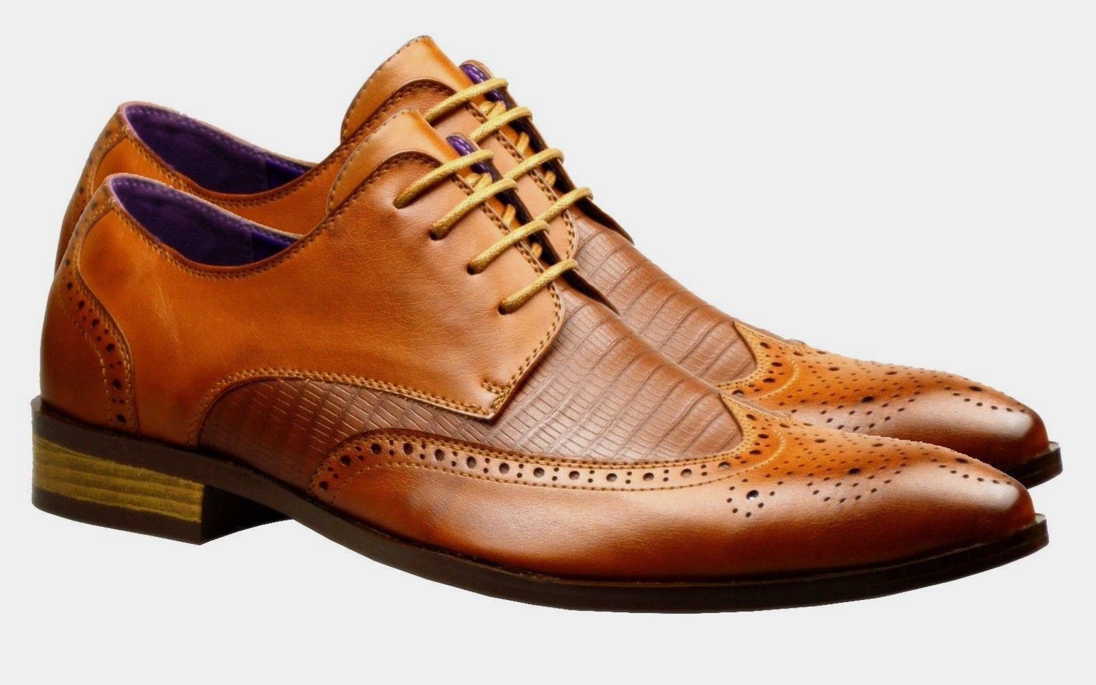 New  Herren Leder Schuhes Brogues Fashion Braun Tan Formal Wedding Smart Dress Gr  e